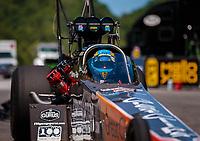 Jun 16, 2018; Bristol, TN, USA; NHRA top fuel driver Clay Millican during qualifying for the Thunder Valley Nationals at Bristol Dragway. Mandatory Credit: Mark J. Rebilas-USA TODAY Sports