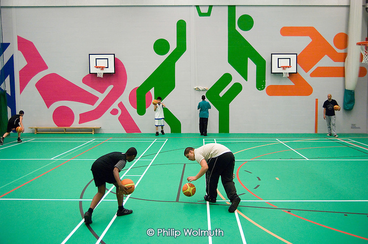 After-school basketball training session at the new Westminster Academy  Sports Centre, Harrow Road.