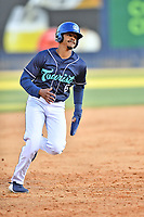 Asheville Tourists shortstop A.J. Lee (6) runs to third base during a game against the Brooklyn Cyclones on May 6, 2021 at McCormick Field in Asheville, NC. (Tony Farlow/Four Seam Images)