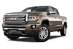 Stock pictures of low aggressive front three quarter view of a 2015 GMC Canyon SLT Crew Cab SWB 4 Door Truck Low Aggressive