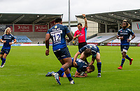 29th August 2020; AJ Bell Stadium, Salford, Lancashire, England; English Premiership Rugby, Sale Sharks versus Bristol Bears;  Luke James of Sale Sharks goes over and scores his second and Sale's fifth try to make the score 33-7