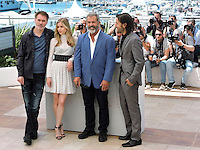 Erin Moriarty, Jean-Francois Richet, Mel Gibson, Diego Luna attend the 'Blood Father' photocall during the 69th annual Cannes Film Festival at Palais des Festivals on May 21, 2016 in Cannes, France.