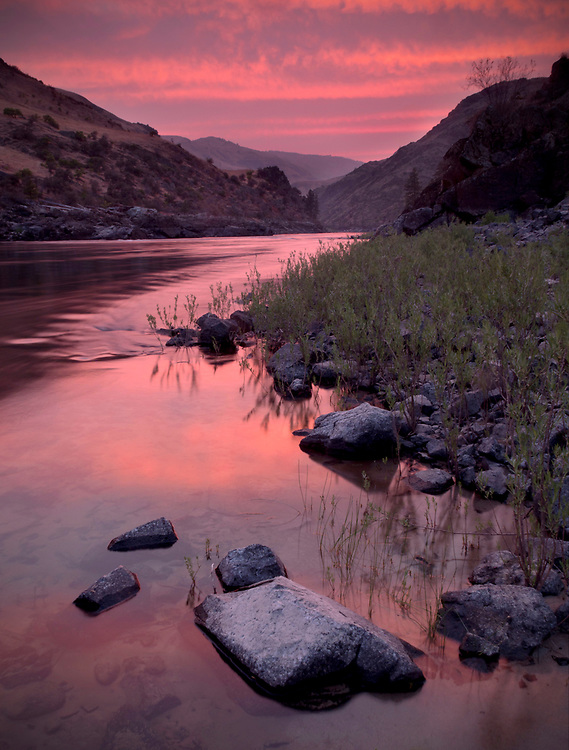 A fiery sunset along the Lower Salmon River in Idaho, USA