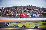 VALENCIA, SPAIN - NOVEMBER 11: Moto3 race start during Valencia MotoGP 2016 at Ricardo Tormo Circuit on November 11, 2016 in Valencia, Spain