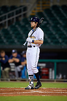 Montgomery Biscuits left fielder Colby Rasmus (28) at bat during a game against the Mississippi Braves on April 24, 2017 at Montgomery Riverwalk Stadium in Montgomery, Alabama.  Montgomery defeated Mississippi 3-2.  (Mike Janes/Four Seam Images)