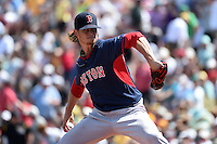 Boston Red Sox pitcher Clay Buchholz (11) during a Spring Training game against the Pittsburgh Pirates on March 12, 2015 at McKechnie Field in Bradenton, Florida.  Boston defeated Pittsburgh 5-1.  (Mike Janes/Four Seam Images)