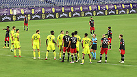 NASHVILLE, TN - SEPTEMBER 23: Referee Tori Penso talks to the players in the wall before a free kick during a game between D.C. United and Nashville SC at Nissan Stadium on September 23, 2020 in Nashville, Tennessee.