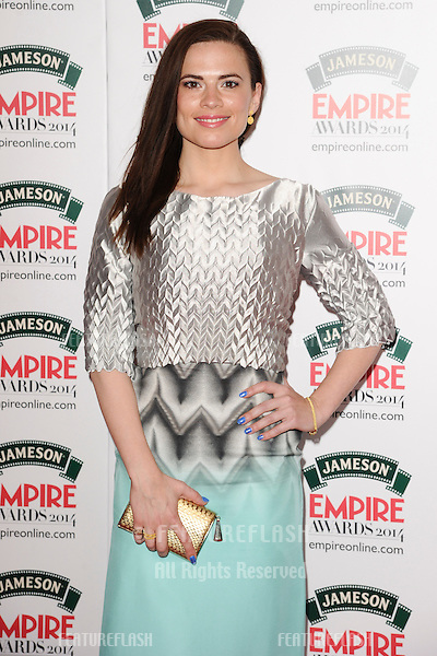 Hayley Atwell <br /> arives for the Empire Magazine Film Awards 2014 at the Grosvenor House Hotel, London. 30/03/2014 Picture by: Steve Vas / Featureflash