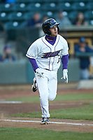 Nick Madrigal (3) of the Winston-Salem Dash hustles down the first base line against the Wilmington Blue Rocks at BB&T Ballpark on April 15, 2019 in Winston-Salem, North Carolina. The Dash defeated the Blue Rocks 9-8. (Brian Westerholt/Four Seam Images)
