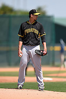 Pittsburgh Pirates pitcher Charlie Morton (50) during a minor league spring training game against the New York Yankees on March 22, 2014 at Pirate City in Bradenton, Florida.  (Mike Janes/Four Seam Images)