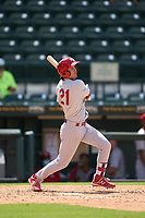 Palm Beach Cardinals Tommy Jew (21) bats during a game against the Bradenton Marauders on May 30, 2021 at LECOM Park in Bradenton, Florida.  (Mike Janes/Four Seam Images)