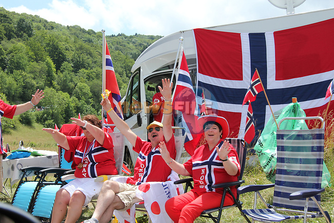 Norwegian fans wait for the race to arrive during Stage 10 of the 99th edition of the Tour de France 2012, running 194.5km from Macon to Bellegarde-sur-Valserine, France. 11th July 2012.<br /> (Photo by Thomas van Bracht/NEWSFILE)