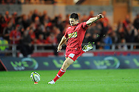 Jordan Williams of Scarlets takes a conversion kick during the LV= Cup first round match between Scarlets and Leicester Tigers at Parc y Scarlets (Photo by Rob Munro, Fotosports International)