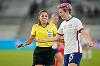 ORLANDO CITY, FL - FEBRUARY 18: Megan Rapinoe #15 of the United States voices her opinion during a game between Canada and USWNT at Exploria Stadium on February 18, 2021 in Orlando City, Florida.