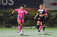 Jessica Silva Valdebenito (18 Charleroi) pictured in a run with Aalst's Daisy Baudewijns during a female soccer game between Sporting Charleroi and Eendracht Aalst on the 8th  matchday of the 2020 - 2021 season of Belgian Scooore Womens Super League , friday 20 th of November 2020  in Marcinelle , Belgium . PHOTO SPORTPIX.BE | SPP | DAVID CATRY