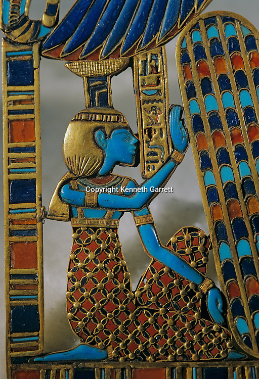 Detail of inlaid pectoral, Tutankhamun and the Golden Age of the Pharaohs, Page 256