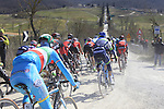 The peloton including Vincenzo Nibali (ITA) Astana tackle Sector 3 Bagnaia of gravel during the 2015 Strade Bianche Eroica Pro cycle race 200km over the white gravel roads from San Gimignano to Siena, Tuscany, Italy. 7th March 2015<br /> Photo: Eoin Clarke/www.newsfile.ie