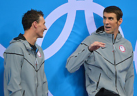 August 02, 2012..Ryan Lochte and Michael Phelps on the podium during Men's 200m Individual Medley Award Ceremony at the Aquatics Center on day six of 2012 Olympic Games in London, United Kingdom.