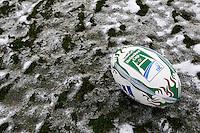 Photo: Richard Lane/Richard Lane Photography.  London Wasps v Newport Gwent Dragons. Heineken Cup. 19/12/2010. Heineken Cup Ball in the snow at Adams Park.