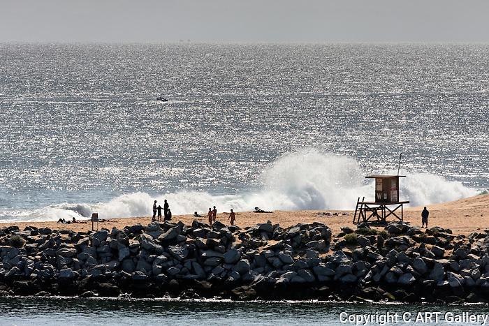 Waves at the Wedge, Balboa Peninsula,CA.
