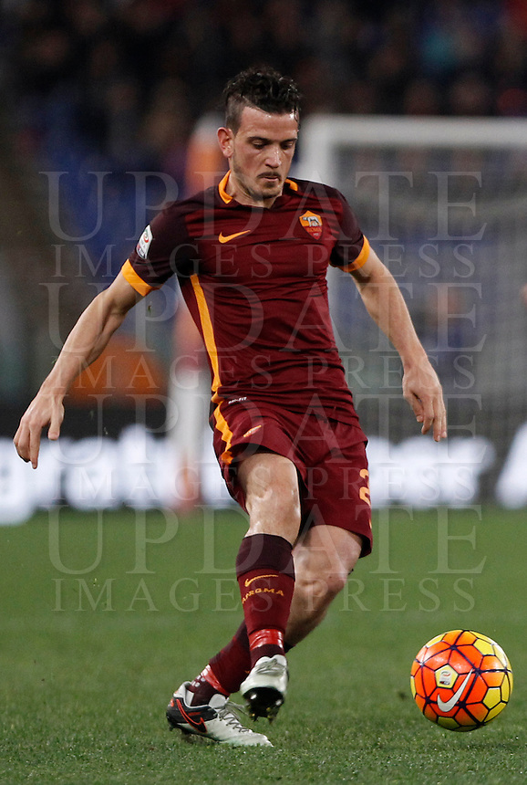 Calcio, Serie A: Roma vs Milan. Roma, stadio Olimpico, 9 gennaio 2016.<br /> Roma's Alessandro Florenzi in action during the Italian Serie A football match between Roma and Milan at Rome's Olympic stadium, 9 January 2016.<br /> UPDATE IMAGES PRESS/Isabella Bonotto