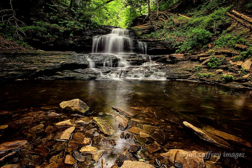 Onondaga Falls, an idyllic waterfall at the head of Glen Leigh in Ricketts Glen State Park in northeastern Pennsylvania.