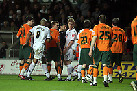 Pictured: Alan Tate (centre) of Swansea City <br /> Picture by D Legakis / Athena Picture Agency, Swansea, 07815441513