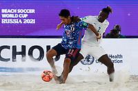 28th August 2021; Luzhniki Stadium, Moscow, Russia: FIFA World Cup Beach Football tournament; Semi final match Japan versus Senegal:  Japan's Masanori Okuyama competes with Ninou Diatta of Senegal, during the match between Japan and Senegal