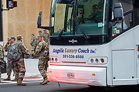 U.S. Air Force members prepare to leave in a bus during a march against police brutality and racism in Washington, D.C. on Saturday, June 6, 2020.<br /> Credit: Amanda Andrade-Rhoades / CNP/AdMedia