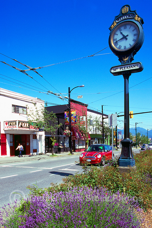 Vancouver, BC, British Columbia, Canada - Main Street Scene, Mt Pleasant Clock, Shops and Restaurants in Mount Pleasant Neighbourhood