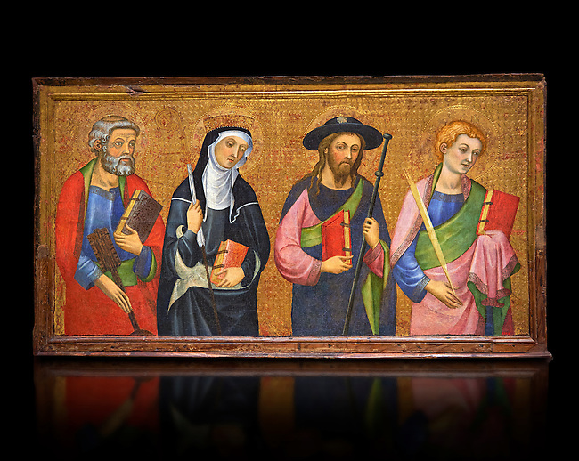 Painted Gothic panels from the Altarpiece of the Virgin of the Angels.<br /> From Left - San Peter, Santa Clara, Saint James the Greater, St. John the Evangelist. Tempera and gold leaf on wood, circa 1385 by by Pere Serra  from the Cathedral of Tortosa (Tarragona). Inv MNAC 3950, 3948, 3949. National Museum of Catalan Art (MNAC), Barcelona, Spain