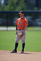 Houston Astros second baseman Austin Dennis (45) during a Minor League Spring Training Intrasquad game on March 28, 2019 at the FITTEAM Ballpark of the Palm Beaches in West Palm Beach, Florida.  (Mike Janes/Four Seam Images)
