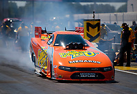 Aug 8, 2020; Clermont, Indiana, USA; NHRA funny car driver Jim Campbell during qualifying for the Indy Nationals at Lucas Oil Raceway. Mandatory Credit: Mark J. Rebilas-USA TODAY Sports