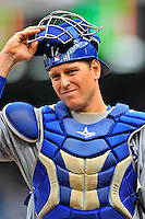 5 September 2011: Los Angeles Dodgers catcher A.J. Ellis in action against the Washington Nationals at Nationals Park in Los Angeles, District of Columbia. The Nationals defeated the Dodgers 7-2 in the first game of their 4-game series. Mandatory Credit: Ed Wolfstein Photo