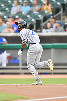 Pensacola Blue Wahoos shortstop Jose Siri (3) runs to first base during a game against the Tennessee Smokies at Smokies Stadium on August 30, 2018 in Kodak, Tennessee. The Blue Wahoos defeated the Smokies 5-1. (Tony Farlow/Four Seam Images)