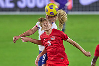 18th February 2021, Orlando, Florida, USA;  United States midfielder Lindsey Horan (9) battles with Canada defender Quinn (5) during a SheBelieves Cup game between Canada and the United States on February 18, 2021 at Exploria Stadium in Orlando, FL.