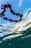 An underwater view of a purple and yellow flower lei floating on the water's surface, O'ahu.