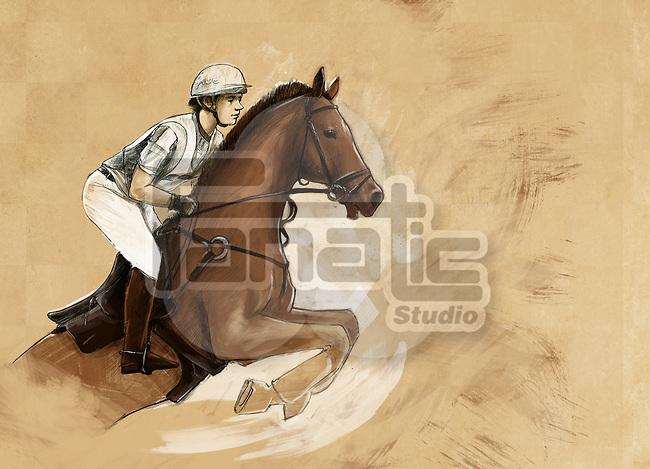 Illustrative image of man riding horse