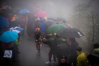 Tosh Van der Sande (BEL/Lotto-Soudal) up the extremely wet, cold & misty Cole di Mortirolo <br /> <br /> Stage 16: Lovere to Ponte di Legno (194km)<br /> 102nd Giro d'Italia 2019<br /> <br /> ©kramon