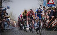 Kasper ASGREEN (DEN/Deceuninck-Quick Step) up the Oude Kwaremont<br /> <br /> 103rd Ronde van Vlaanderen 2019<br /> One day race from Antwerp to Oudenaarde (BEL/270km)<br /> <br /> ©kramon