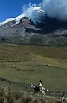 Amérique du Sud. Equateur. Trekking sur les volcans d'Equateur. Cavaliers à 4200 m au pied du Chimborazo (6310 m plus haut sommet de l'équateur).South America. Ecuador. Trekking on the volcanoes