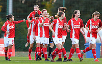 Standard's players celebrating after a goal from Sylke Calleeuw (9) during a female soccer game between Standard Femina de Liege and Club Brugge YLA on the seventh matchday of the 2020 - 2021 season of Belgian Scooore Womens Super League , saturday 14 th of November 2020  in Angleur , Belgium . PHOTO SPORTPIX.BE | SPP | DAVID CATRY