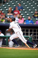 NW Arkansas shortstop Raul Mondesi (2) at bat during a game against the San Antonio Missions on May 30, 2015 at Arvest Ballpark in Springdale, Arkansas.  San Antonio defeated NW Arkansas 5-1.  (Mike Janes/Four Seam Images)