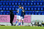 St Johnstone v St Mirren…16.01.21   McDiarmid Park     SPFL<br />Chris Kane gets a hug from Jason Kerr at full time<br />Picture by Graeme Hart.<br />Copyright Perthshire Picture Agency<br />Tel: 01738 623350  Mobile: 07990 594431