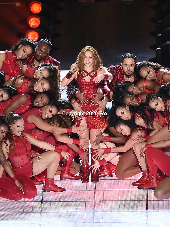 MIAMI, FL - FEBRUARY 2: Shakira performs on the Pepsi Halftime Show at Super Bowl LIV at Hard Rock Stadium on February 2, 2020 in Miami, Florida. (Photo by Frank Micelotta/Fox Sports/PictureGroup)