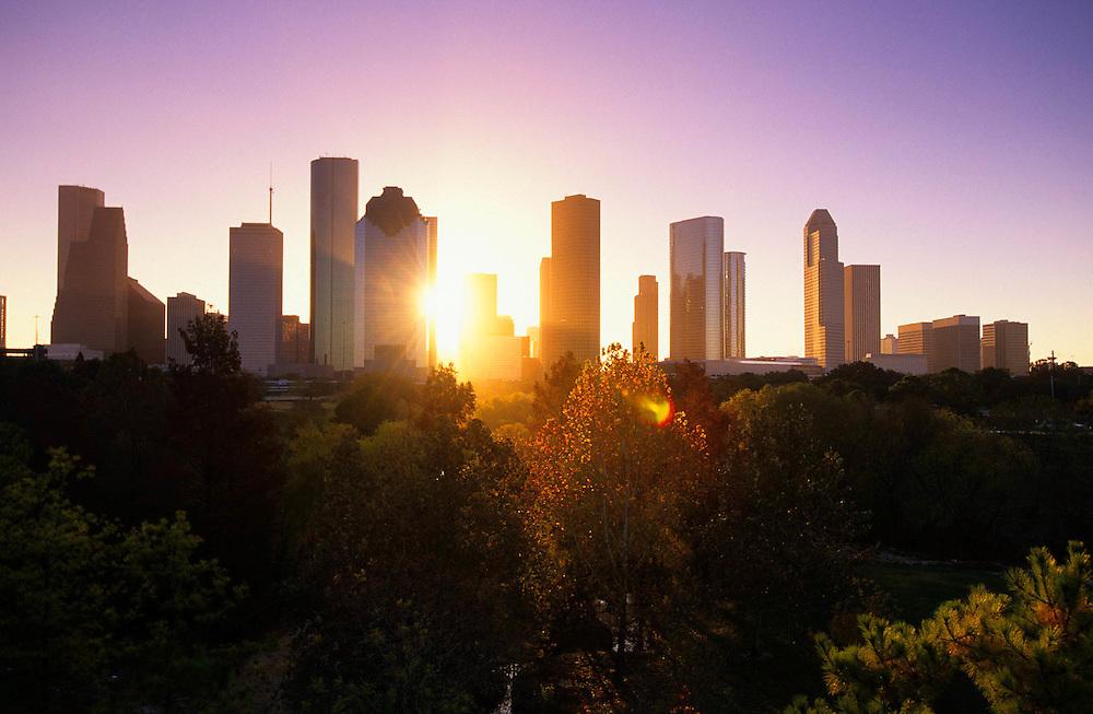 Houston Skyline At Sunrise | Stockyard Photos