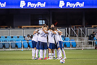 SAN JOSE, CA - MAY 01: DC United Players huddle at the start of the second half of a game between San Jose Earthquakes and D.C. United at PayPal Park on May 01, 2021 in San Jose, California.