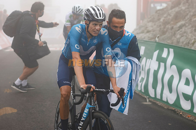 Enric Mas Nicolau (ESP) Movistar Team crosses the line in 3rd place at the end of Stage 18 of La Vuelta d'Espana 2021, running 162.6km from Salas to Alto del Gamoniteiru, Spain. 2nd September 2021.    <br /> Picture: Luis Angel Gomez/Photogomezsport | Cyclefile<br /> <br /> All photos usage must carry mandatory copyright credit (© Cyclefile | Luis Angel Gomez/Photogomezsport)