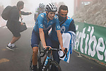 Enric Mas Nicolau (ESP) Movistar Team crosses the line in 3rd place at the end of Stage 18 of La Vuelta d'Espana 2021, running 162.6km from Salas to Alto del Gamoniteiru, Spain. 2nd September 2021.    <br /> Picture: Luis Angel Gomez/Photogomezsport   Cyclefile<br /> <br /> All photos usage must carry mandatory copyright credit (© Cyclefile   Luis Angel Gomez/Photogomezsport)