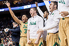 Mar. 21, 2015; The Irish bench celebrates a three point basket in the third round game of the NCAA Tournament. Notre Dame defeated Butler 67-64 in overtime. (Photo by Matt Cashore/University of Notre Dame)